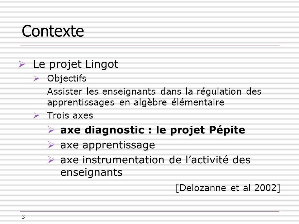 Contexte Le projet Lingot [Delozanne et al 2002]
